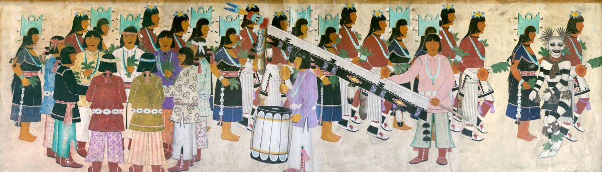 San Ildefonso Pueblo painter Awa Tsireh depicted corn dancers, New Mexico Magazine
