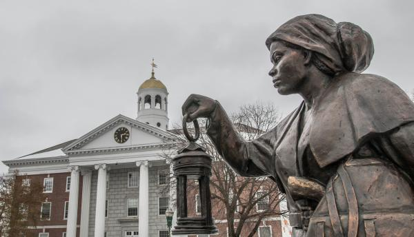 Harriet Tubman Statue with City Hall