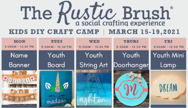 Calendar of activities at The Rustic Brush Kids DIY Craft Camp