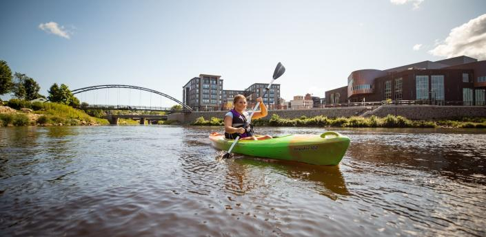 057 Kayaker on River Near Pablo Center at the Confluence in Downtown Eau Claire