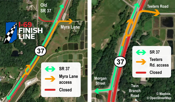 Traffic pattern changes at Myra Lane and Teeters Road north of Martinsville.