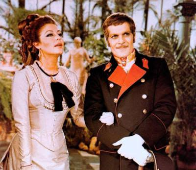 An image of Ava Gardner and Omar Sharif on the set of the movie Mayerling.