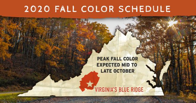2020 Fall Color Schedule - Virginia Blue Ridge Mountains