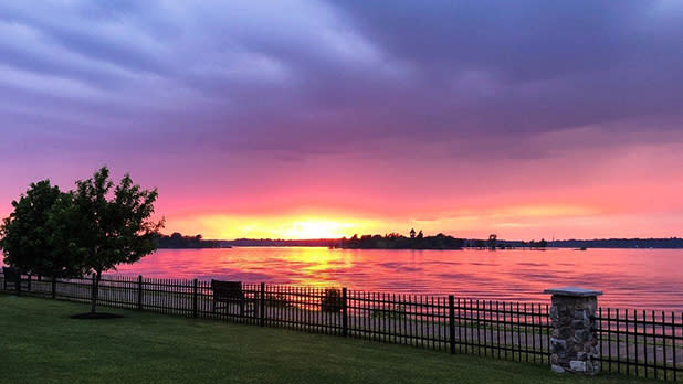 A purple, orange and red sunset on the St. Lawrence Seaway