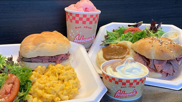 Beef on weck and sides from Anderson's Frozen Custard