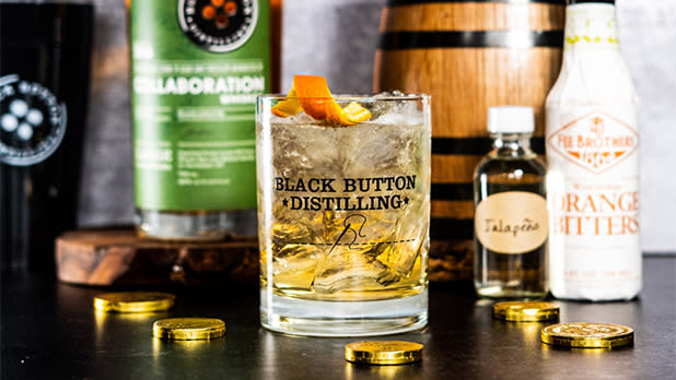 Cocktail and bottles from Black Button Distilling