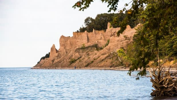 Earthen spires along the shores of Lake Ontario at Chimney Bluffs State Park, New York