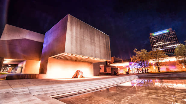 Exterior evening view of the Everson Museum of Art