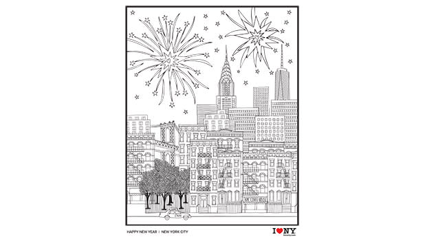 A coloring page showing fireworks over Manhattan