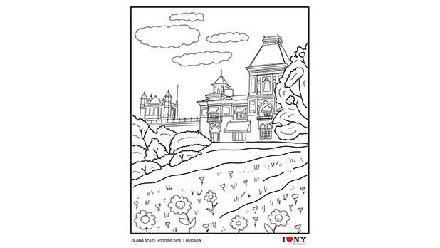 A coloring page depicting Olana