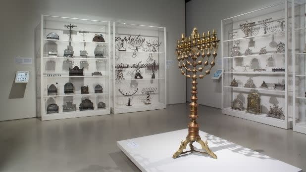 A menorah and other lamps in a gallery at the Jewish Museum