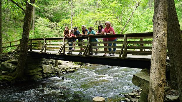 Children overlook a stream from a wooden bridge