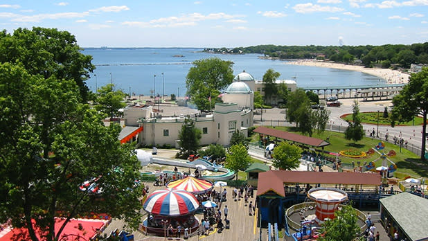 Aerial view of an amusement park and beach