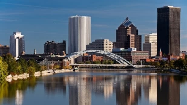 Rochester's skyline with reflections in the Genesee River
