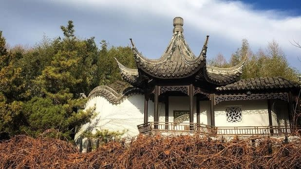 A pagoda-style building in the Chinese Scholar's Garden