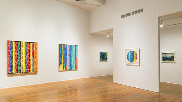 Paintings in a gallery at the Studio Museum in Harlem