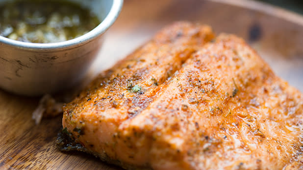 A fillet of trout cooked with spices