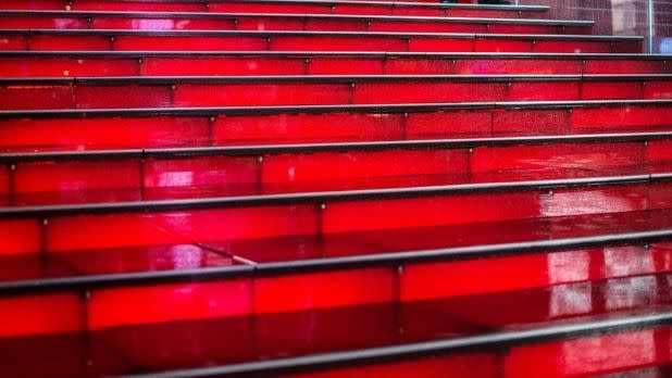 Red bleacher stairs