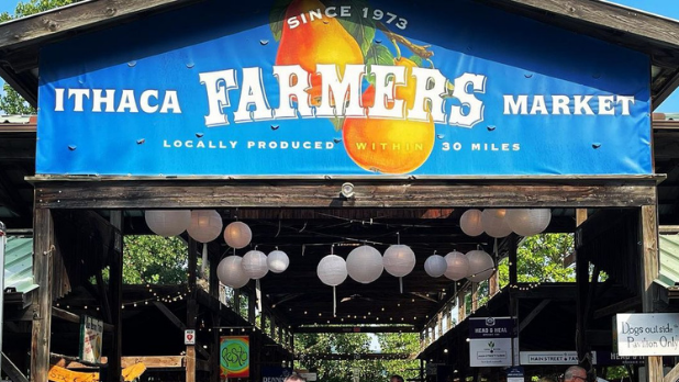 A view of the Ithaca Farmer's Market sign with white lanterns hanging in the pavilion in the background