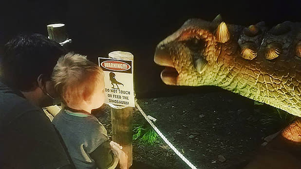 A child gets close to an animatronic dinosaur