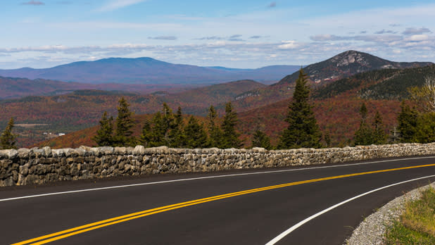 A view of the roadway and Adirondacks Mountains from Whiteface Veterans Memorial Highway