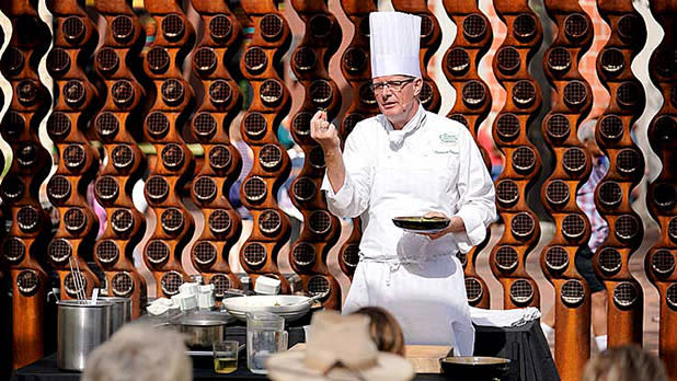A chef teaching at the Culinary Institute of America