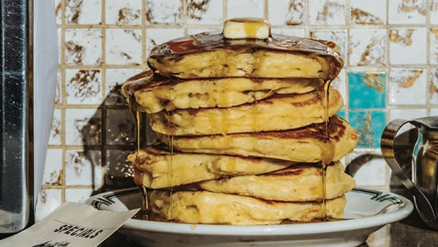 A large stack of pancakes from Phoenicia Diner