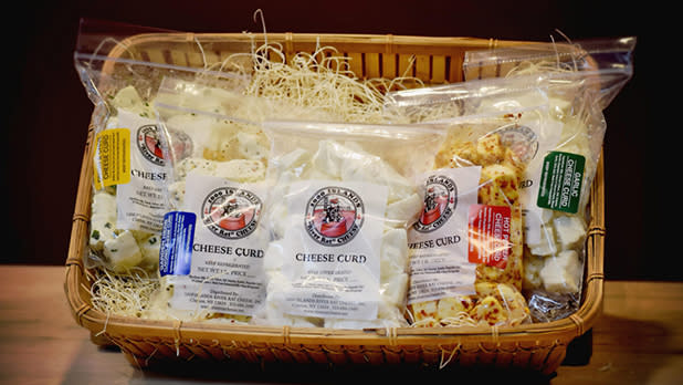 A basket of cheese curds from River Rat Cheese