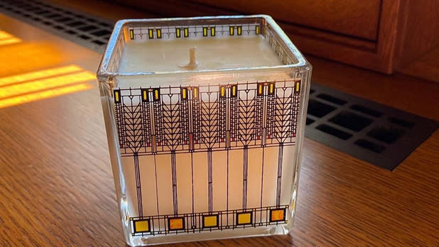A candle with a Frank Lloyd Wright design