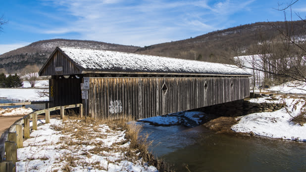 Snow covered photo of fitch's covered bridge