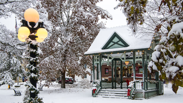 Snow covered town square of hammondsport