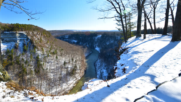 Snow covered shot of letchworth state park