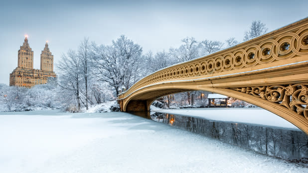 Snow covered pond and bridge in Central Park