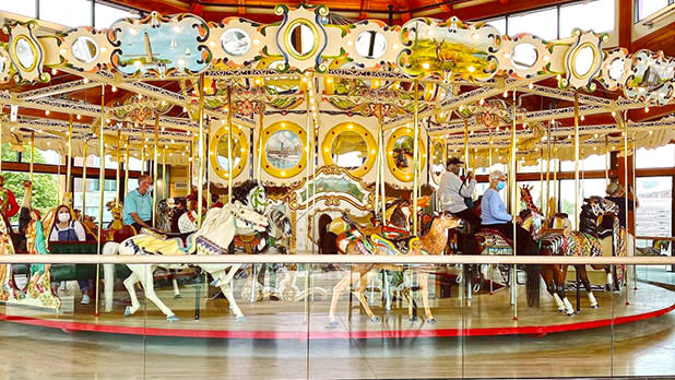 Buffalo Heritage Carousel; Photo Credit: @cobblestonedistrict on Instagram