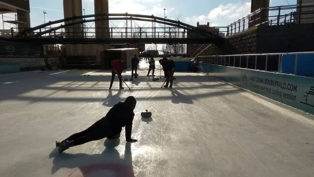 Curling on the ice in Buffalo