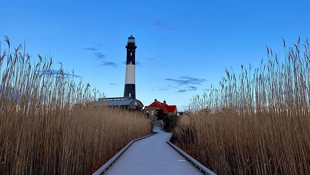 A snowy path to the Fire Island Lighthouse