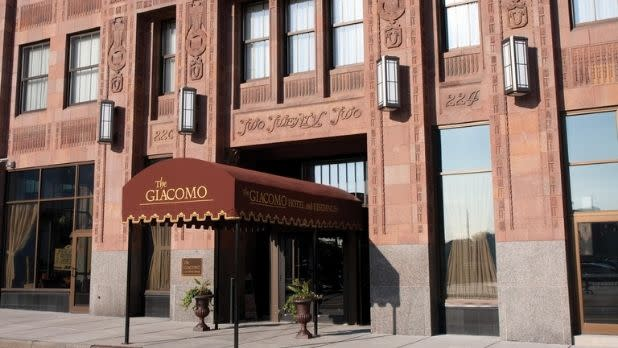 The art deco facade of the Giacomo Hotel