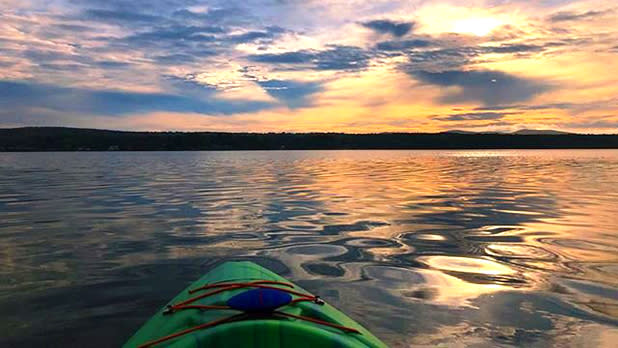 The view of Sacandaga Lake from a kayaker's perspective