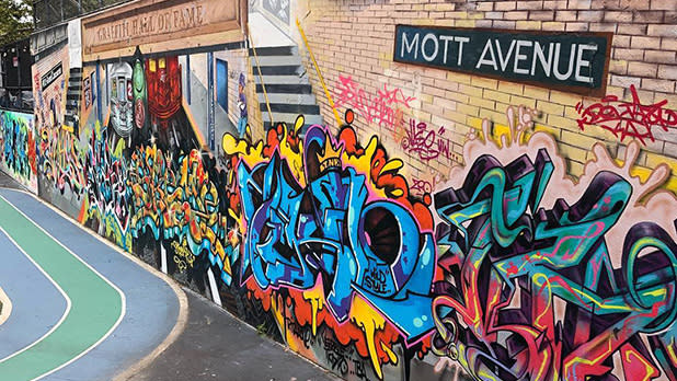 A wall full of graffiti