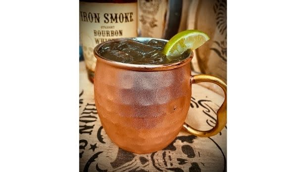 Erie Canal Mule Cocktail in an iron cup