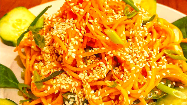 Moosewood Restaurant noodle dish; Photo Credit: @neveradaalmoment on Instagram