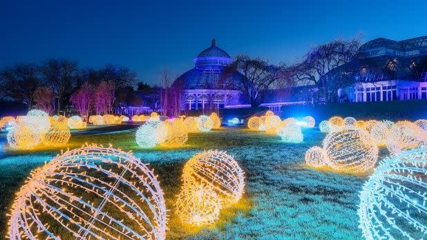 Holiday lights at GLOW at the New York Botanical Garden
