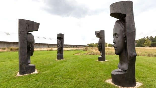 Jaume Plensa sculptures outdoors at the Parrish Art Museum