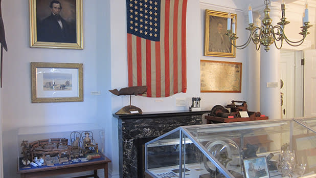 An American flag and other artifacts
