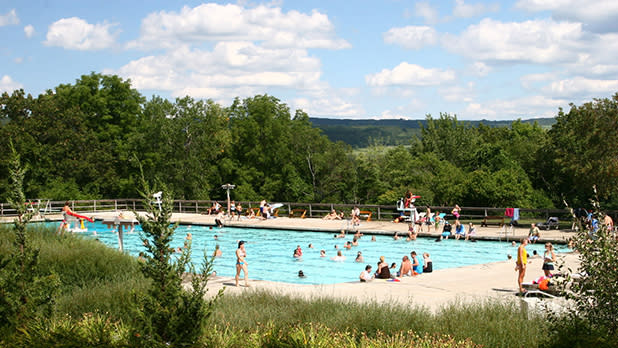 A pool with swimmers in it