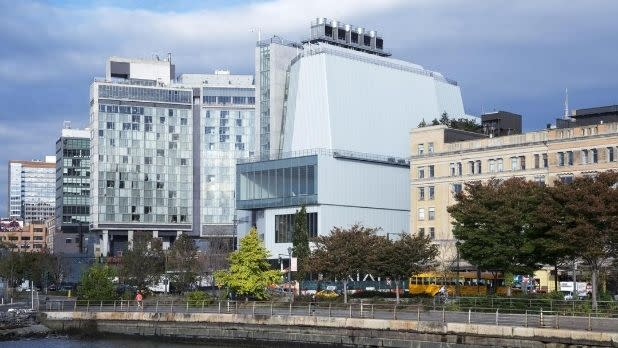 A view of the Whitney Museum (center) from the Hudson River