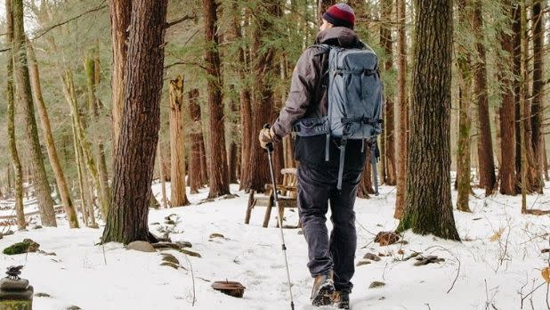A person hikes in the snow amid trees in upstate New York
