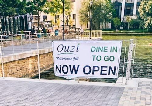 Ouzi Outdoor Sign, Dine In, To Go, Now Open