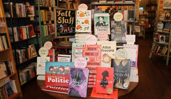 Staff Picks books table at the Curious Iguana Downtown Frederick