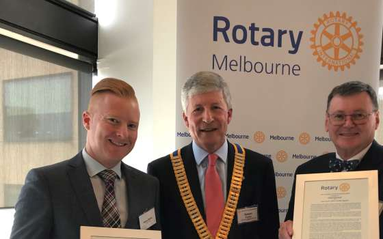 Honorary Rotary Paul Harris Fellowship Awarded to Melbourne Convention Bureau's Jason Balkin